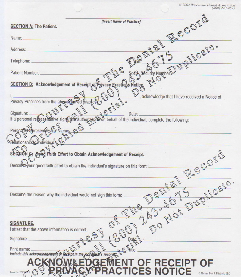 Dental Hipaa Acknowledgement Form