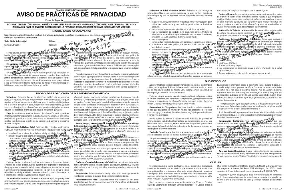 Spanish Hipaa Notice Of Privacy Practices