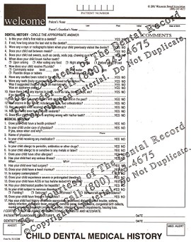 5 Year Digital Child Patient Dental Medical History Form PDF